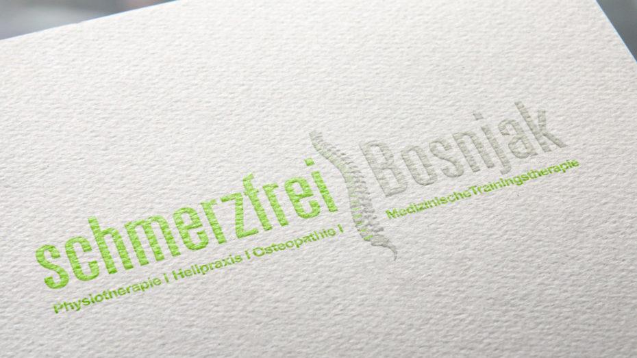 Schmerzfrei Bosnjak logoentwicklung Referenz alibi-design
